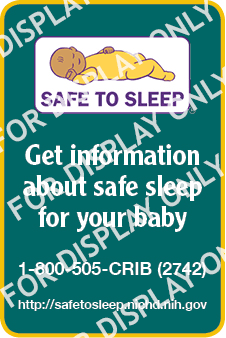 Safe to Sleep Web Badge - Watermark of For Display Only
