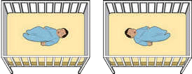 Illustrations of a baby lying on his back in a crib.